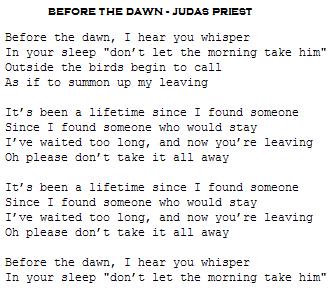 before the dawn judas priest letra