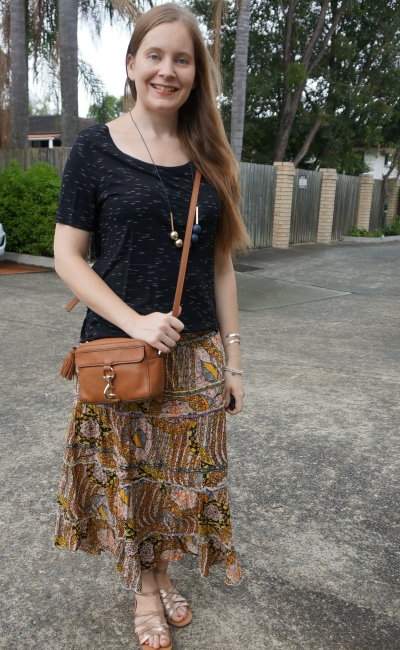 space dye tee and mixed print maxi skirt opshopped outfit thrift finds and rebecca minkoff bag | away from blue