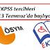2016/1 EKPSS tercihleri 13 Temmuz'da başlıyor