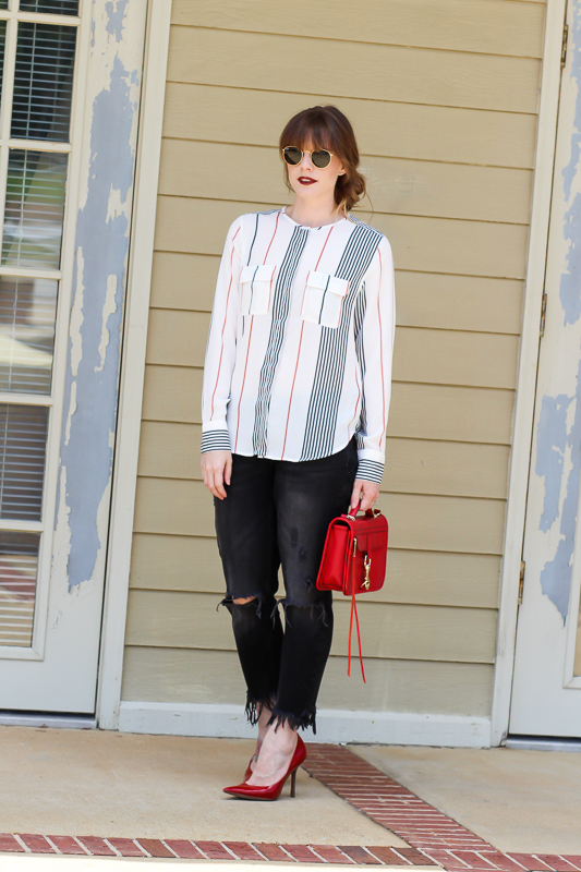 Striped Tops- Frayed Jeans