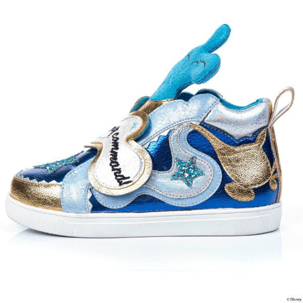 left shoe blue metallic with smoke plume and strap and genie lamp applique
