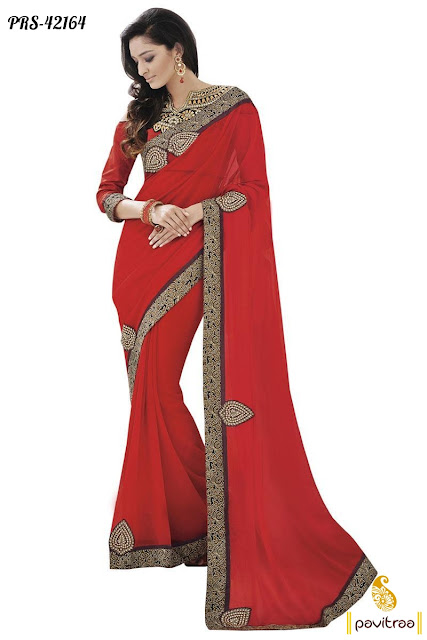 Red Party Wear Saree at Low Price