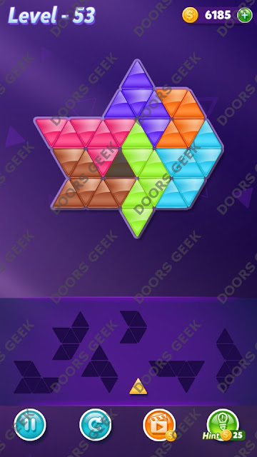 Block! Triangle Puzzle 7 Mania Level 53 Solution, Cheats, Walkthrough for Android, iPhone, iPad and iPod