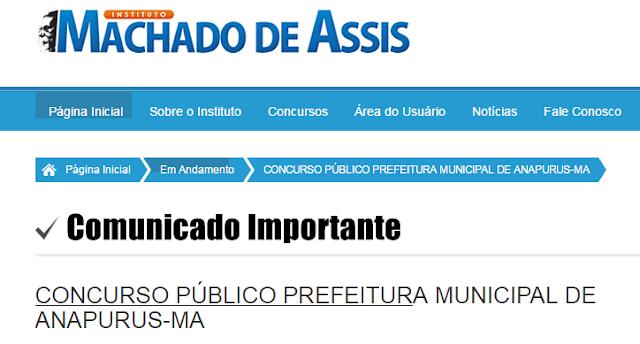 Atenção! Instituto Machado de Assis emite comunicado importante sobre o Concurso Público de Anapurus