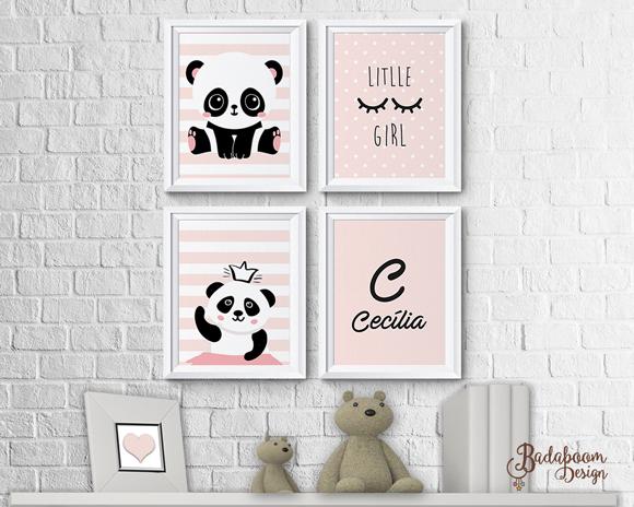 Panda, poster, infantil, menina, panda rosa, arte digital, kit digital, decoração, decoração de quarto infantil, decoração de festa, print, quadro, quadrinhos, arte personalizada
