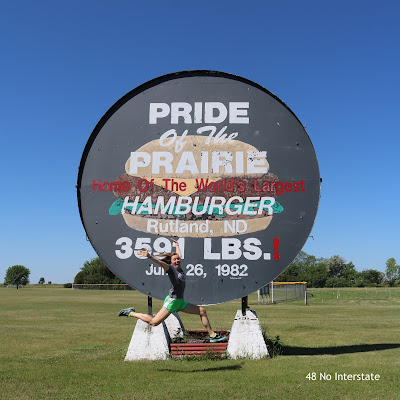 48 No Interstate: How to Create a Road Trip Itinerary - Roadside Attractions: World's Largest Hamburger grill in Rutland, North Dakota
