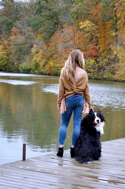 girl and dog at the lake