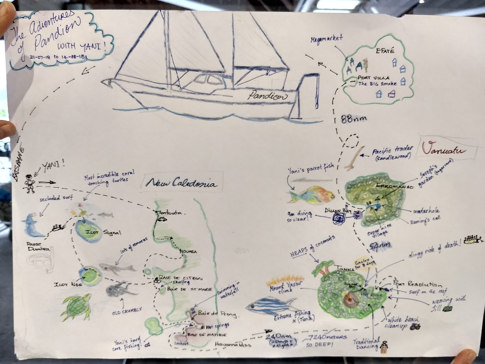 this map created by all the crew at the vila airport as he was leaving us represents yani s three weeks plus stay aboard pandion he joined us in noumea