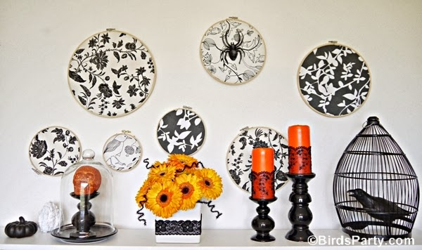 DIY Halloween Backdrop with Embroidery Hoops - BirdsParty.com