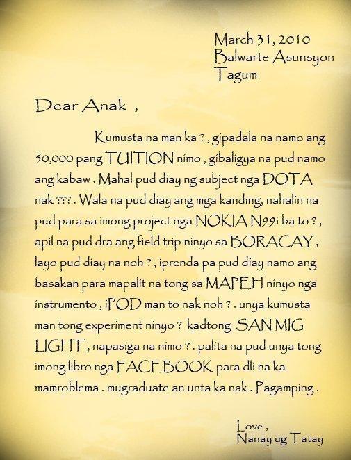 Liham Para Sa Magulang  Ann's Blog