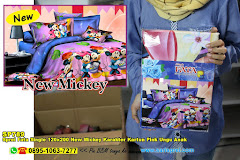 Sprei Fata Single 120×200 New Mickey Karakter Kartun Pink Ungu Anak