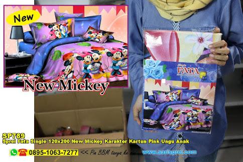 Sprei Fata Single 120x200 New Mickey Karakter Kartun Pink Ungu Anak