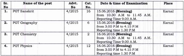 image : HSSC PGT Exam Schedule June 2016 @ TeachMatters