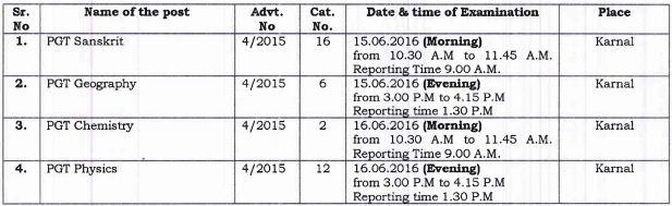image : HSSC PGT Exam Schedule June 2016