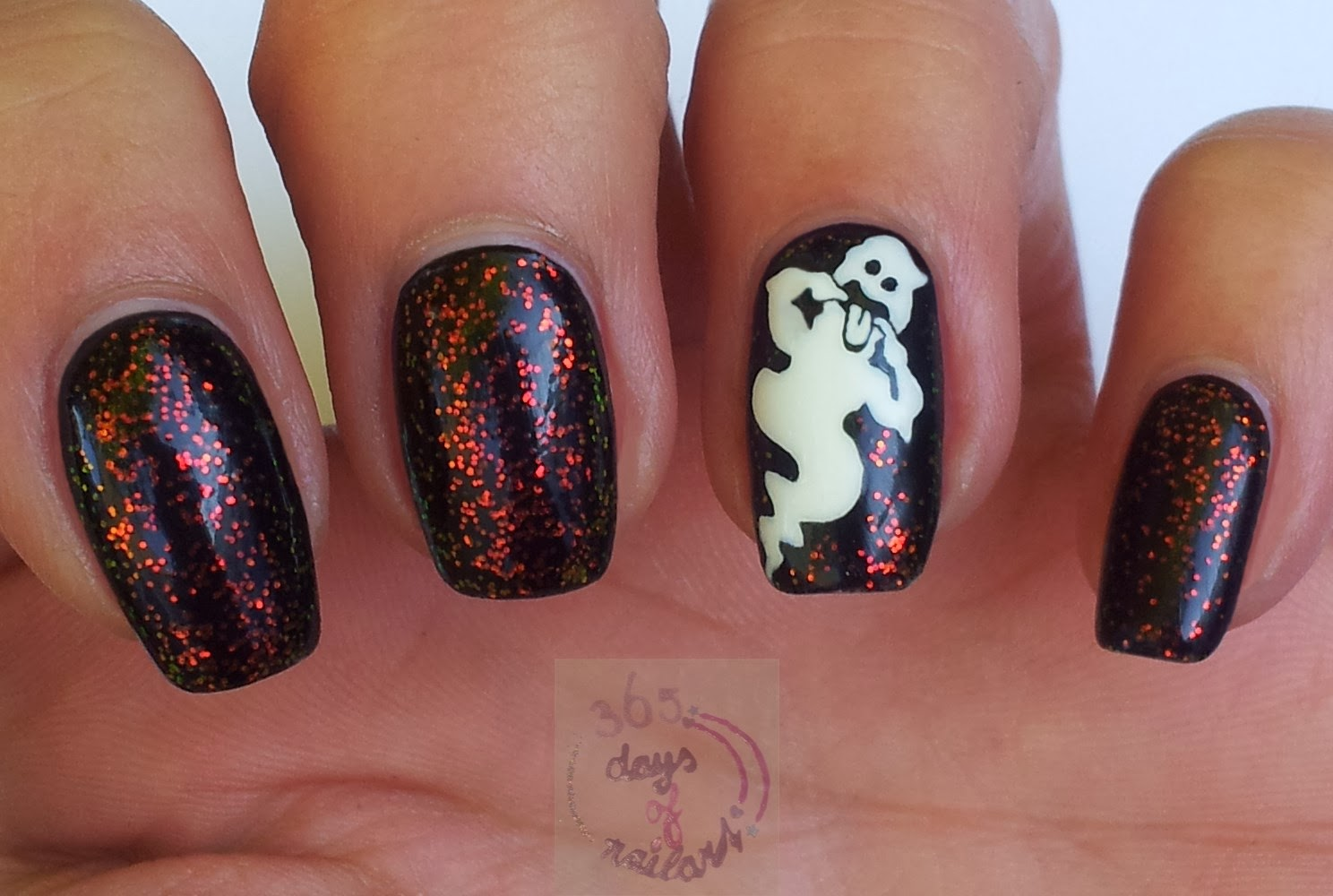 365+ days of nail art: Day 274) Nail art Halloween (ghost)