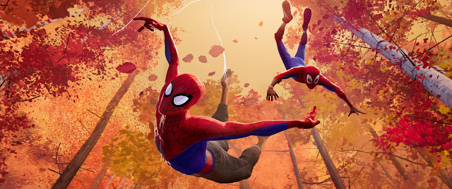 "Peter Parker serves as Miles Morales' reluctant mentor in ""Spider-Man: Into the Spider-Verse"""