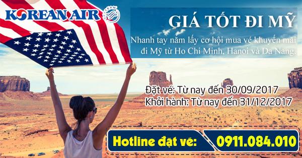 khuyến mãi vé đi Mỹ hạng phổ thông của Korean Air