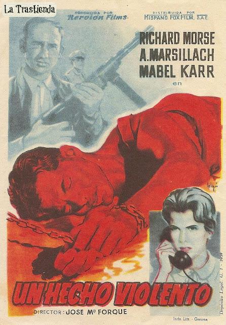 Programa de Cine - Un Hecho Violento - Adolfo Marsillach - Mabel Karr - Richard Morse