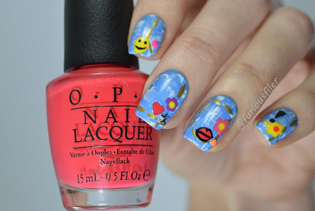 denim seams dry brush emoji fun colourful nails
