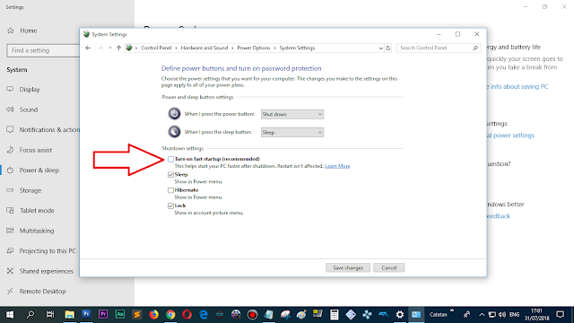 "hilangkan/disable checkbox ""turn on fast startup"""