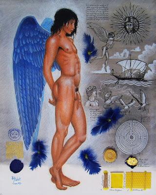 mythologie, associations, traces, Icare, éphèbe nu, mythologie grecque,