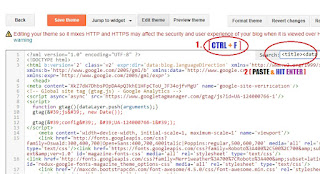 4. Press [CTRL+F] and find the DEFAULT BLOGGER TITLE CODE