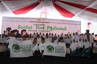 Santri Pondok Pesantren Santi Asromo Majalengka Ikuti Launching Santri Tani Milenial di Tasikmalaya