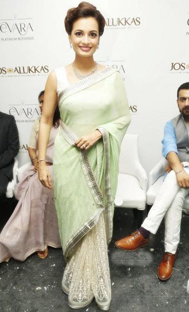 Actress Dia Mirza Pretty in White Light Green Half and Half Saree