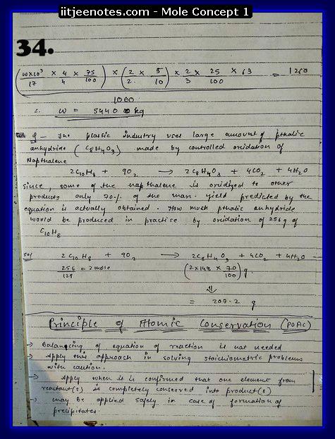Mole Concept Notes IITJEE2