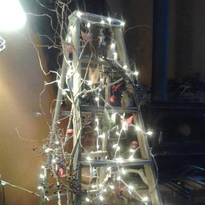 christmas ladder tree featured on funky junk interiors