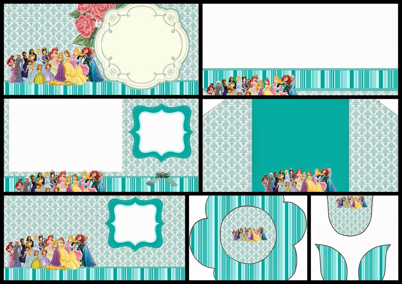 Todas las Princesas Disney: Invitaciones para Imprimir Gratis.