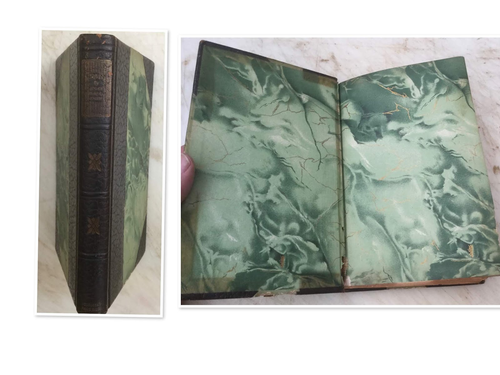 New Fashion Old Leather Binding Books Brown And Green Color For Manuscript Or Printing Book