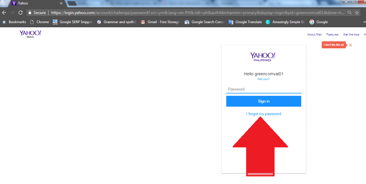 forgot yahoo email password and alternate email