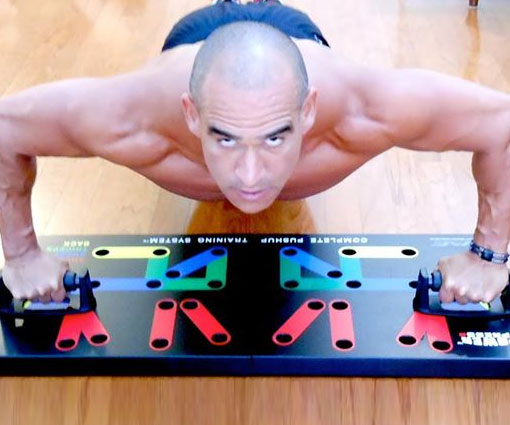 Build the panty dropping chest, guns, and back muscles you've always dreamed off by working out with the push up training system. The specially color coded wooden board helps you keep proper form as you sculpt your body like Michelangelo.
