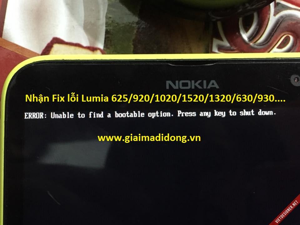 Repair Fix lỗi Lumia 1020 ERROR: Unable to find a bootable option