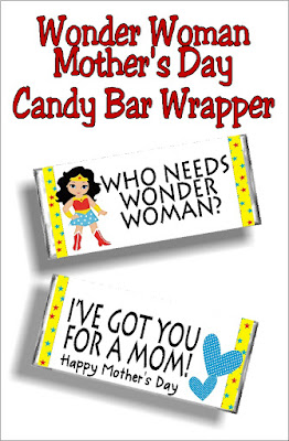 Celebrate your mother this mother's day with this fun Wonder Woman mother's day candy bar wrapper.  This is such a great mother's day card for the mom in your life. #mothersday #candybarwrapper #diypartymomblog #mothersdaycard #printable