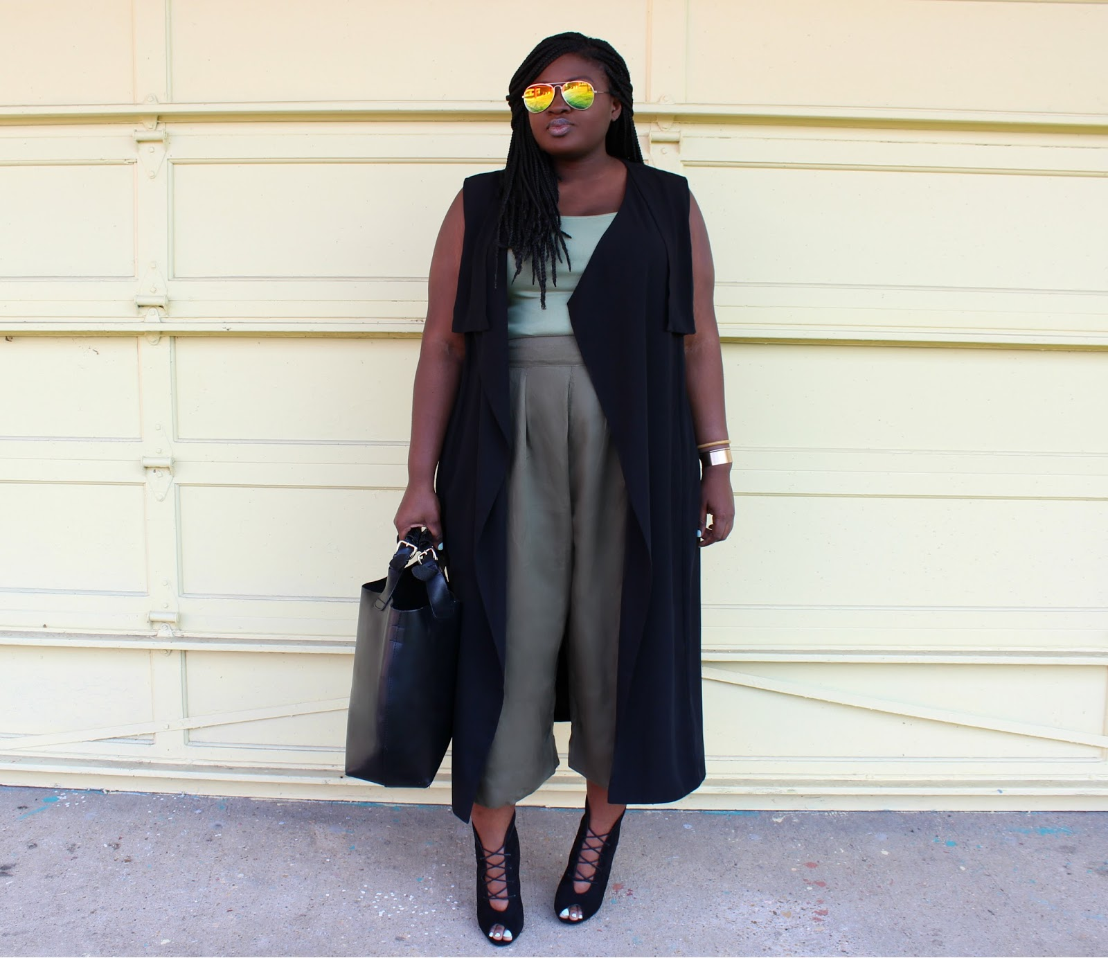 Spring Outfit Idea Under $150: Trench Vest & Green Culottes