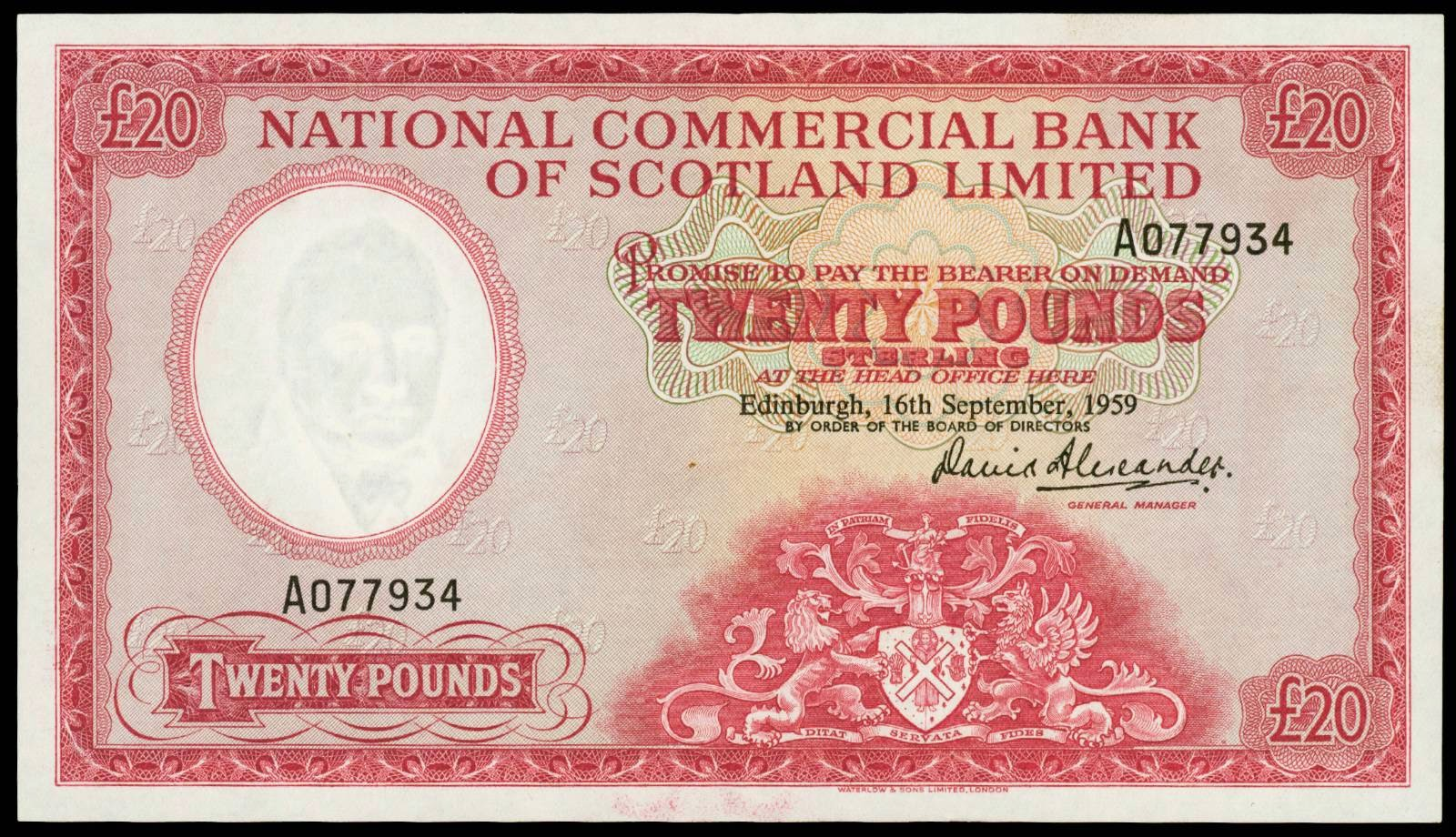 20 Pounds banknote 1959 National Commercial Bank of Scotland Limited
