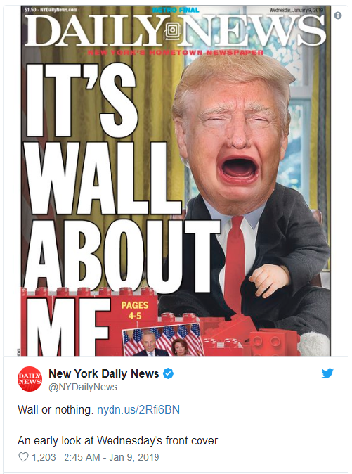 New York Daily News Cover Depicts Tantrum Throwing Donald Trump