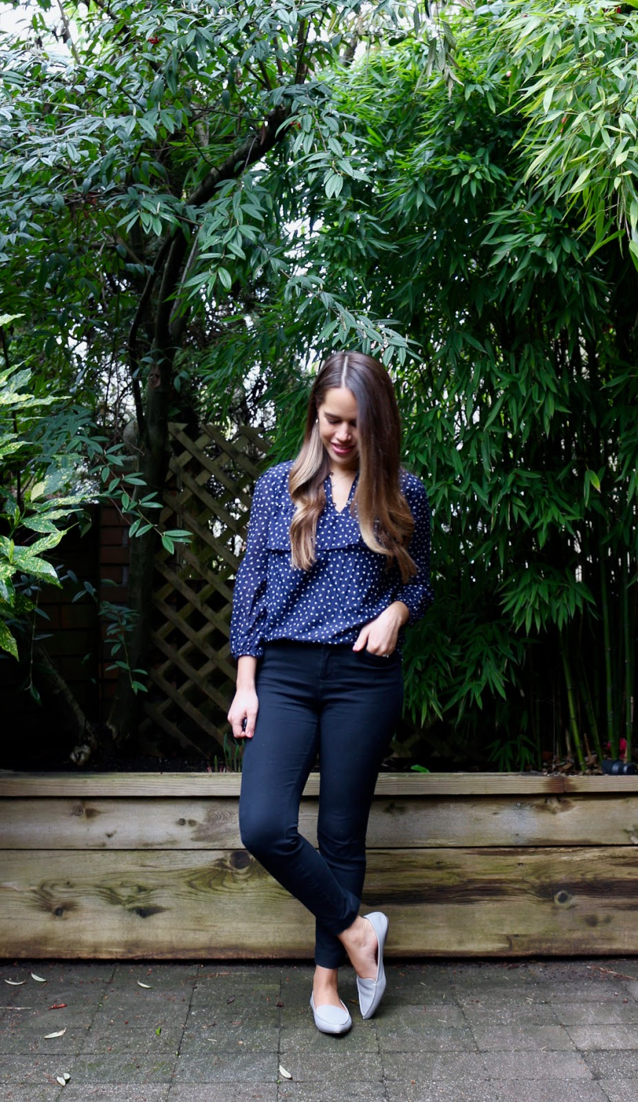 Jules in Flats - Ruffle Dot Top (Business Casual Spring Workwear on a Budget)