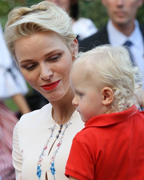 Prince Albert, Princess Charlene attend a dance show with Prince Jacques, the heir apparent to the Monegasque throne during the traditional Monaco's picnic - Pique Nique Monegasque at Le Parc Princesse Antoinette
