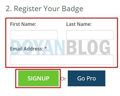 isi form dmca lalu sign up
