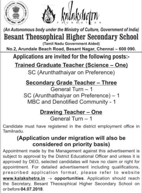 Kalakshetra Chennai TGT, SGT and Drawing Teacher Post Vacancy - 2018