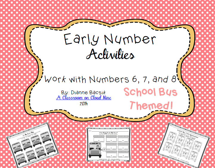 http://www.teacherspayteachers.com/Product/Early-Number-Activities-Working-with-Numbers-6-7-8-1378596