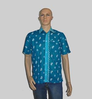 Baju Batik Pria, Hem Batik Jumputan Hijau Toska