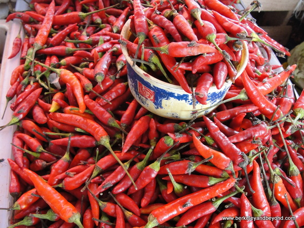 red peppers at town market in Labuan Bajo on Flores Island in Indonesia
