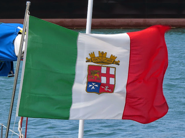 Italian Navy flag, port of Livorno