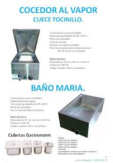 Tocinera, Baño Maria, cocedor vapor, cubetas Gastronorm