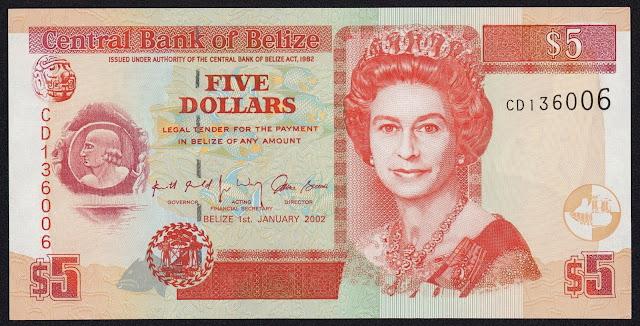 Belize Banknotes 5 Dollars banknote 2002 Queen Elizabeth II