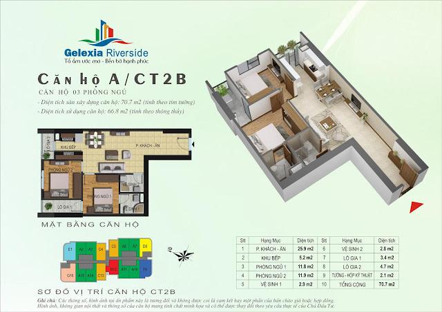 Mặt bằng căn hộ A - CT2B - CT3 chung cư Gelexia Riverside